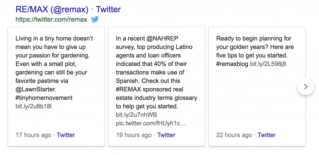 twitter cards in google results
