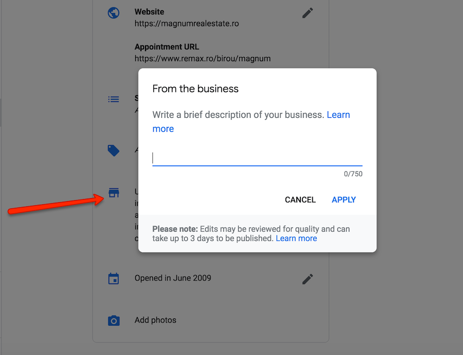 google business description