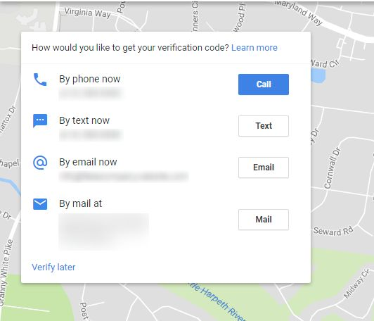 Google business verification options